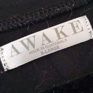 Awake Tops - Black roll sleeved T, Awake